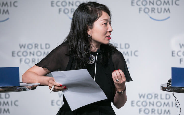 helen hai at the world economic forum head of binance charity blockchain