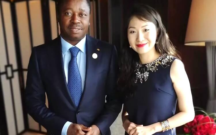 Helen with the president of Togo, Faure Gnassingbé