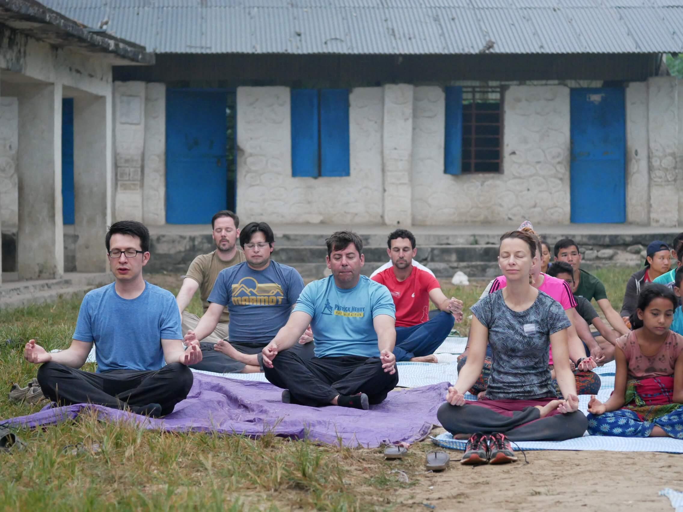 Arturo Bustamante and group on their buildOn trek to Kuine, Nepal to break ground on a school