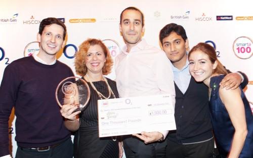 The SalesGossip team winning £1000 at the SMARTA100 awards