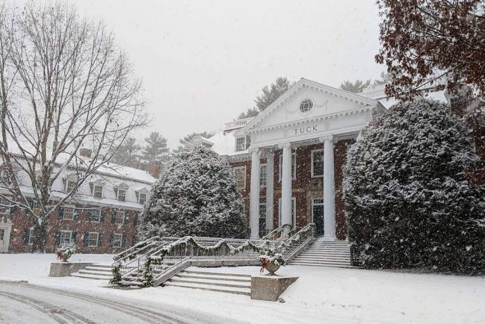 You'll likely find snow on Dartmouth Tuck's campus this Christmas