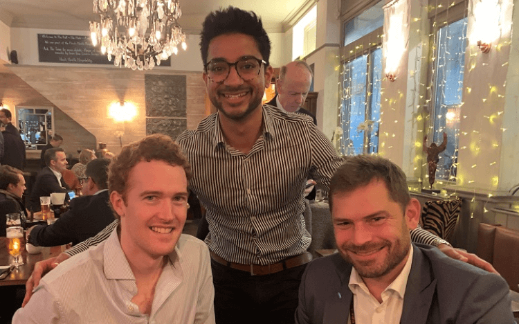 Cambridge MBA grads, and Bond180 founders, Conor, Parth, and Phil (left to right)