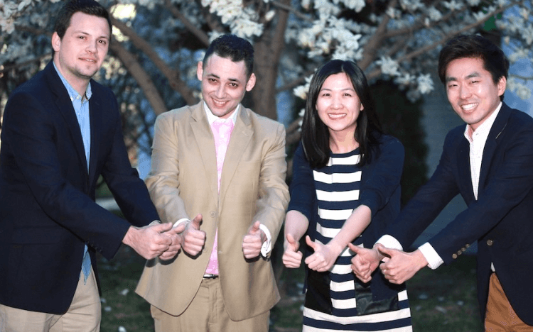 Michael (center, left) chose an MBA in China to change his career trajectory
