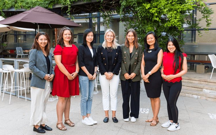 Yan Li (second from right) and Megan Coffey (center) believe that MBA programs can offer a lot of support for women in business
