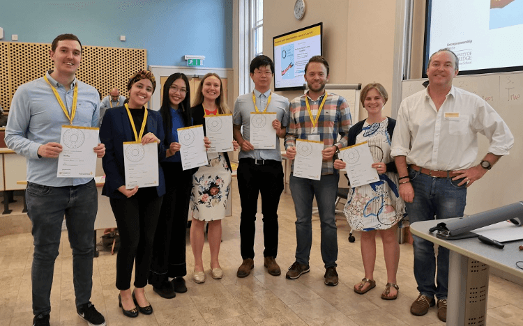 Yigit (third from right), won a place on the Cambridge accelerator program after successfully pitching at a venture creation weekend