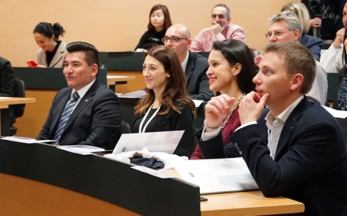 Javier (front, left) during one of the International Flex EMBA's rare face-to-face sessions