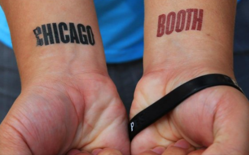 "Proud Chicago Booth MBAs - or ""Boothies"" - wear the school on their sleeve"