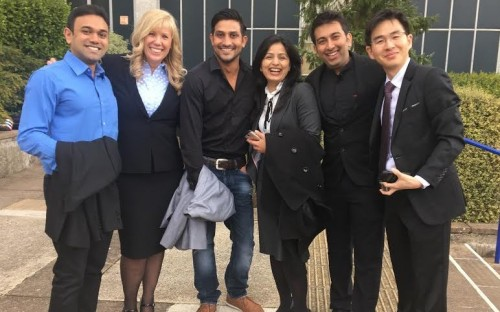 Nicola (second left) with MBA colleagues from the UK's Bath School of Management