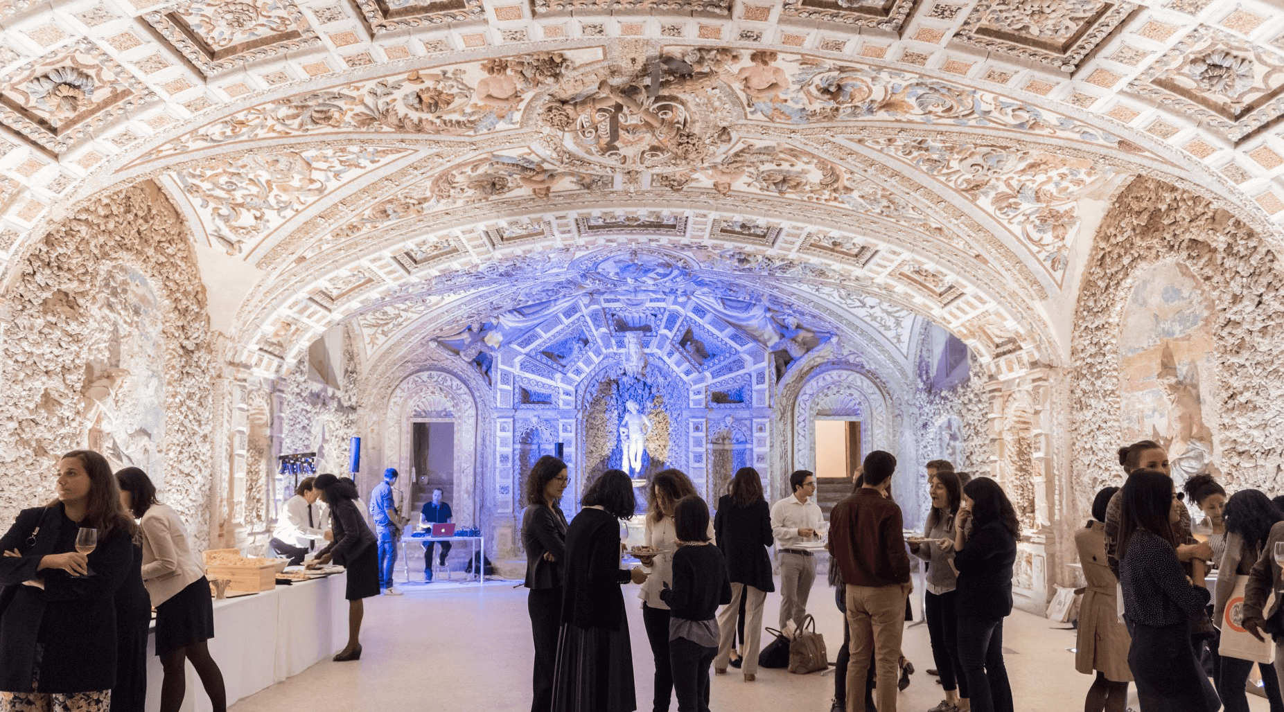 Bologna Business School class studying in one artistic venue