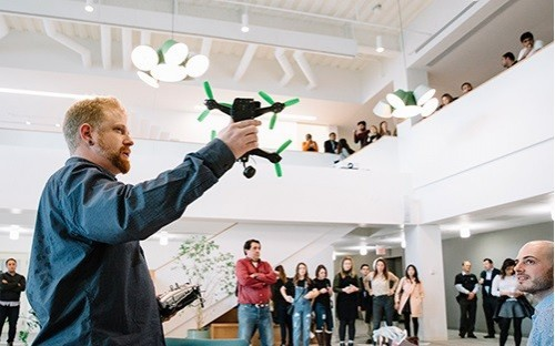 Drone racing league FPV Canada speak at Hult's Boston campus during the school's 'Day of Disruption'