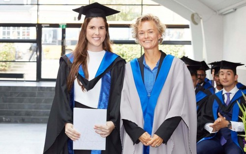 Jessica (left) graduated with an MBA from Copenhagen Business School in 2018
