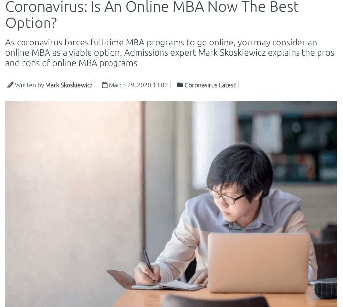 coronavirus online mba