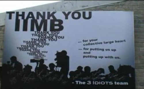 The 3 Idiots team expressing their gratitude to the IIM Bangalore management