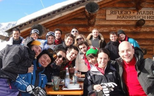 Andre with the rest of the MBA Ski Club in Sulden, South Tirol