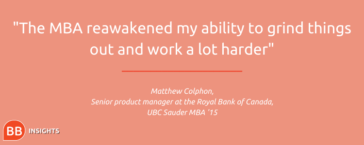 Matthew explains that the MBA built his resilience skillset
