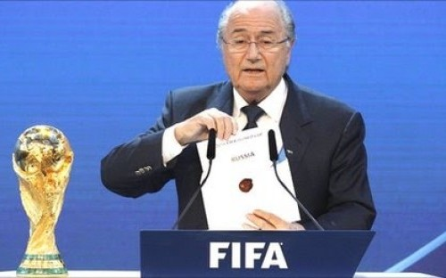 Fifa president Seep Blatter announces that Russia will host the 2018 World Cup