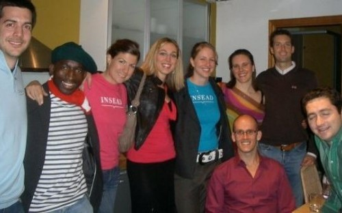 Lara Gilman (third from left) and Insead friends