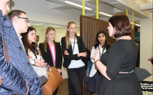 Eager students with Bloomberg representatives at Hult House in Central London