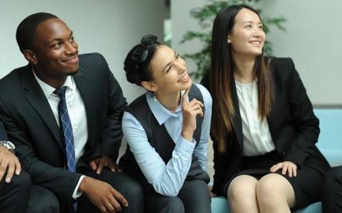 Leela Greenberg (center) is at Shanghai's China Europe International Business School