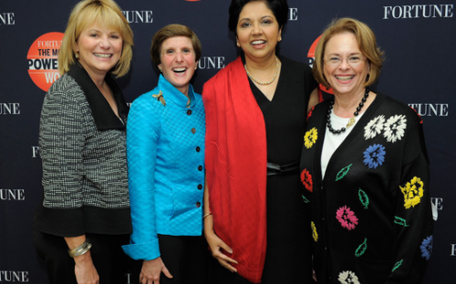 Of the Fortune 500, only 15 have female CEOs. Left to right: Carol Bartz (Yahoo), Irene Rosenfeld (Kraft Foods), Indra Nooyi (Pepsi) and Ann Moore (Time Inc)