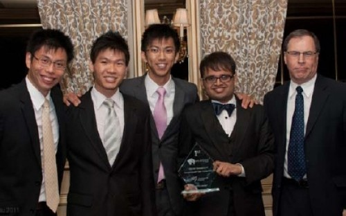 Nanyang's winning team from left to right: Lau Seo Wang, Tan Sing Nan, Xu Wei, Kanesh Bala, and one of the judges, George Attar