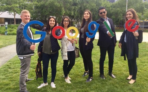 Elia Naranjo-Morelli (second from left) and fellow MIP MBAs visit Google in Silicon Valley