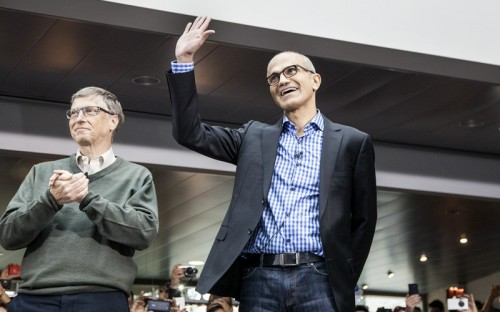 Microsoft CEO Satya Nadella, right, graduated from Chicago's Booth School of Business