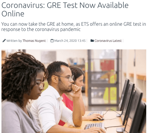 gre test online due to coronavirus