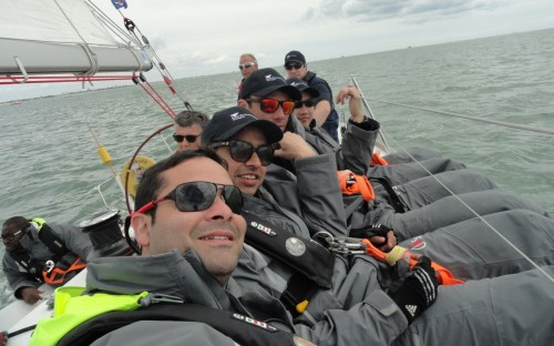 MBA Daniel Sira, front, with his Aston Business School sailing team