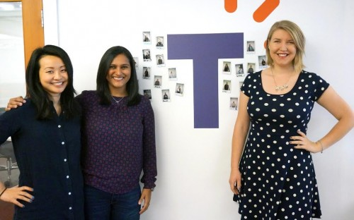Mihika (center) is one of three HEC Paris MBAs working together at Talkable in Silicon Valley