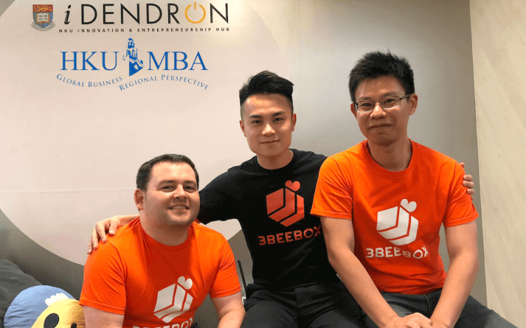 Ryan, Noel, and Simon (L-R) met on the HKU MBA's Business Lab elective, where they developed 3beebox