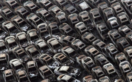 Cars swept away in the tsunami that followed the earthquake in Japan