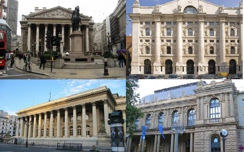 Stock Exchanges: clockwise from top left: London, Milan, Frankfurt and Paris