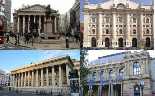 Stock Exchanges: clockwise from top left: London, Milan, Frankfurt and Paris