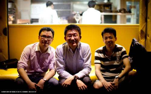 Louis Zheng, left, earned an MBA at SAIF in Shanghai, China