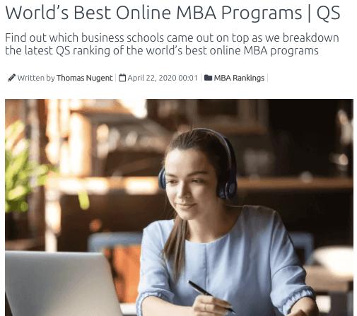 best online mba programs qs