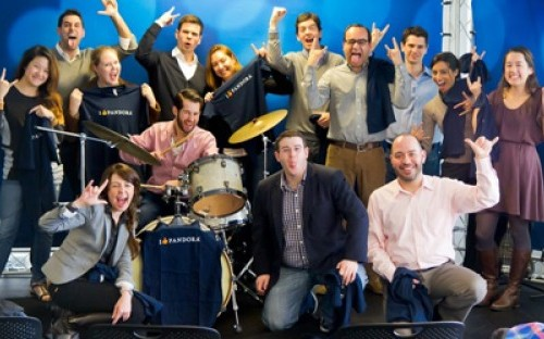 Members of Technology Business Club at Columbia Business School posing as a 'band'