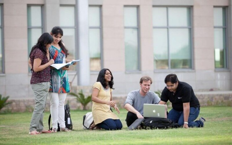 Students relax after class at the Indian School of Business