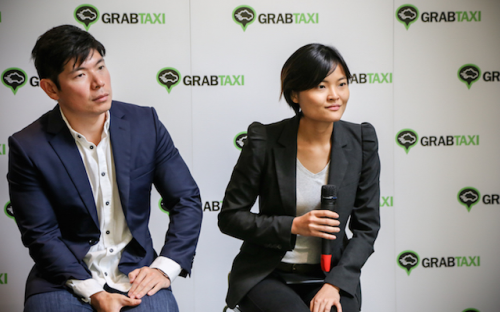 GrabTaxi was co-founded by female Harvard MBA Hooi Ling Tan, right