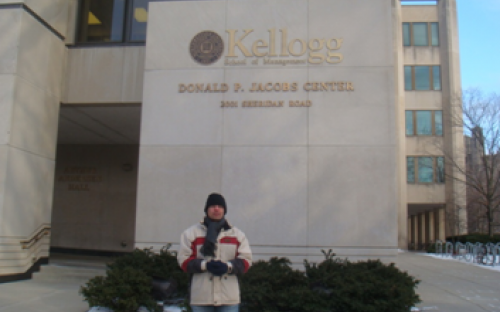Kirti outside Jacobs Center at the Kellogg School Of Management