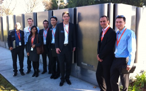 Franck Gautier (second from left) and the Energy Management Group on a visit to Bloom Energy