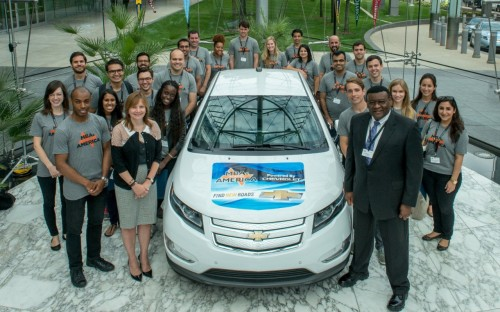 General Motors CEO Mary Barra, second left, front row, with MBA students (© General Motors)