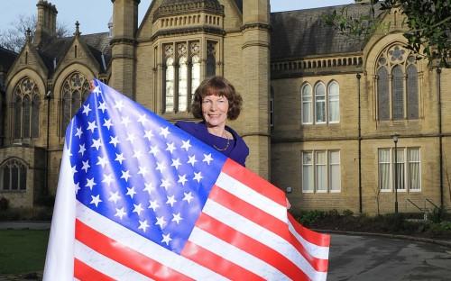 Sarah Dixon, Dean of Bradford University Management School celebrating their triple crown!