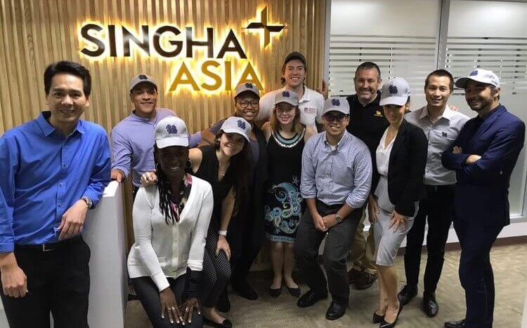 Angeline Stuma (front, second from left) had the chance to work with SIngha Beer on her MBA