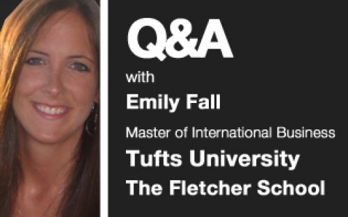 Emily Fall, who is on The Fletcher School's Master of International Business program. She will graduate in 2011