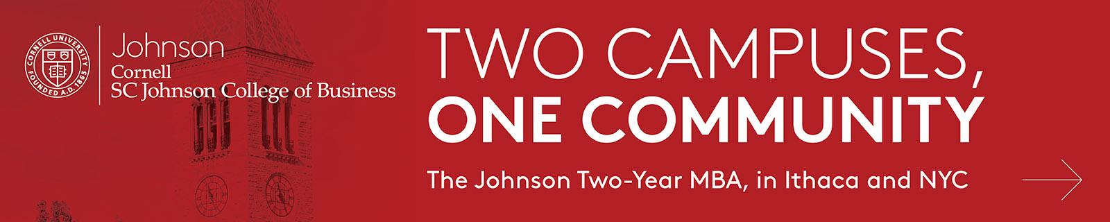 Banner of Cornell University: Johnson Two-Year MBA